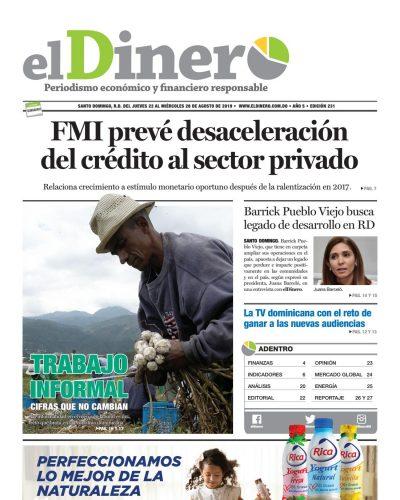 Portada Periódico El Dinero, Jueves 22 de Agosto, 2019