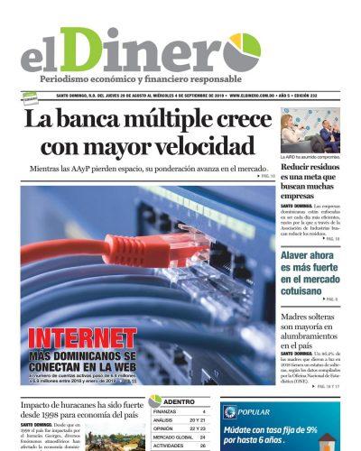 Portada Periódico El Dinero, Jueves 29 de Agosto, 2019