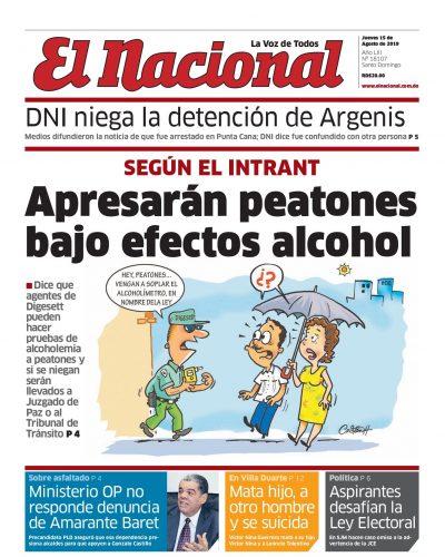 Portada Periódico El Nacional, Jueves 15 de Agosto, 2019