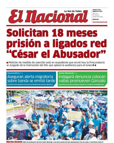 Portada Periódico El Nacional, Jueves 22 de Agosto, 2019