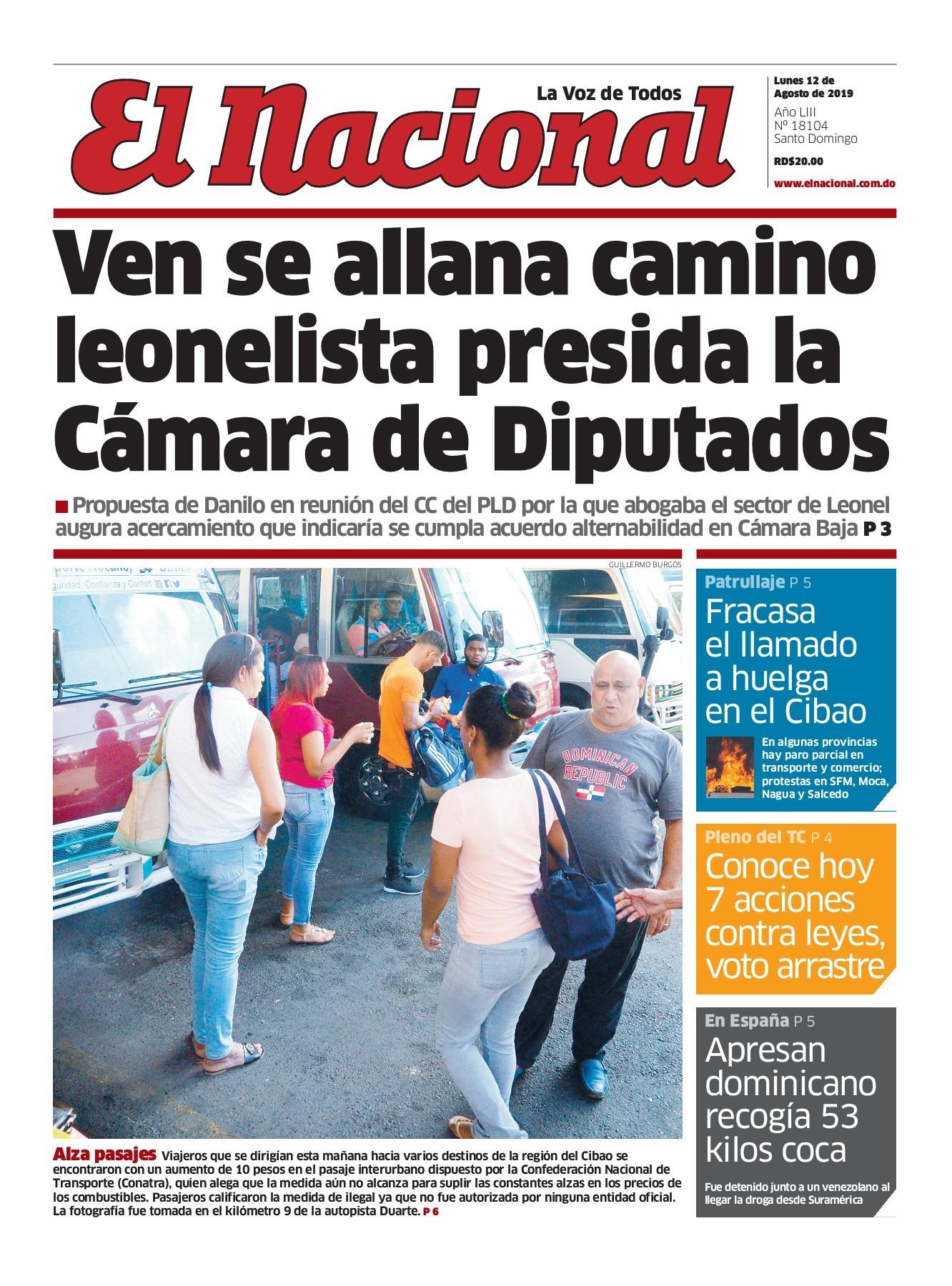 Portada Periódico El Nacional, Lunes 12 de Agosto, 2019