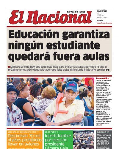 Portada Periódico El Nacional, Miércoles 14 de Agosto, 2019
