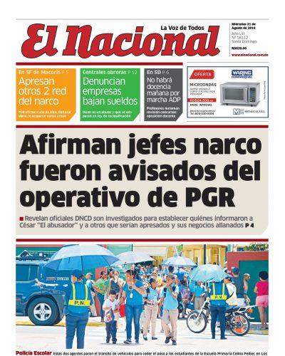 Portada Periódico El Nacional, Miércoles 21 de Agosto, 2019