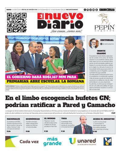 Portada Periódico El Nuevo Diario, Jueves 15 de Agosto, 2019