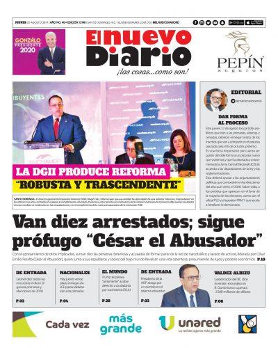 Portada Periódico El Nuevo Diario, Jueves 22 de Agosto, 2019