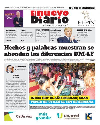 Portada Periódico El Nuevo Diario, Lunes 19 de Agosto, 2019