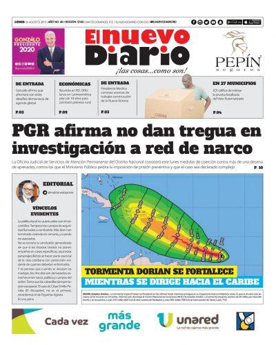Portada Periódico El Nuevo Diario, Lunes 26 de Agosto, 2019