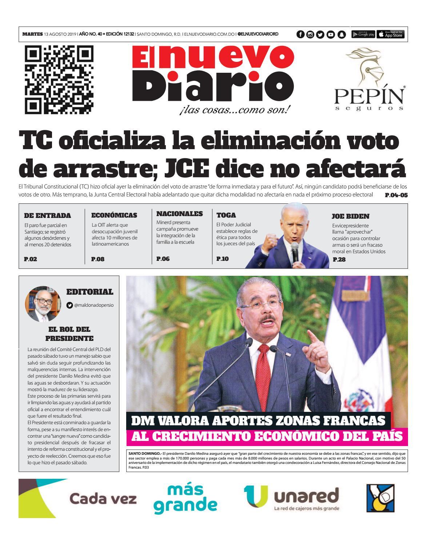 Portada Periódico El Nuevo Diario, Martes 13 de Agosto, 2019