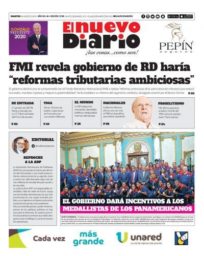 Portada Periódico El Nuevo Diario, Martes 20 de Agosto, 2019