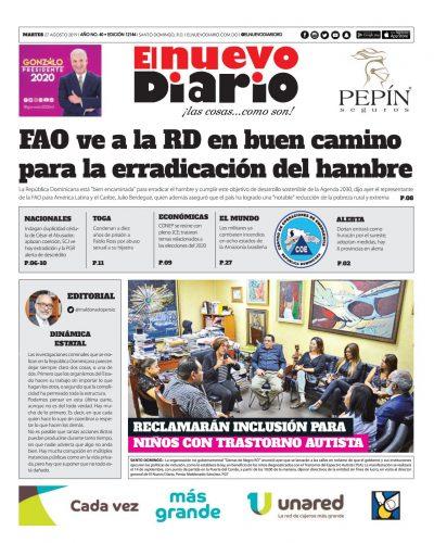 Portada Periódico El Nuevo Diario, Martes 27 de Agosto, 2019