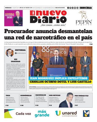Portada Periódico El Nuevo Diario, Miércoles 21 de Agosto, 2019
