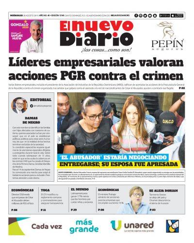Portada Periódico El Nuevo Diario, Miércoles 28 de Agosto, 2019