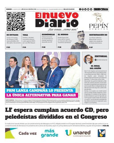 Portada Periódico El Nuevo Diario, Viernes 16 de Agosto, 2019