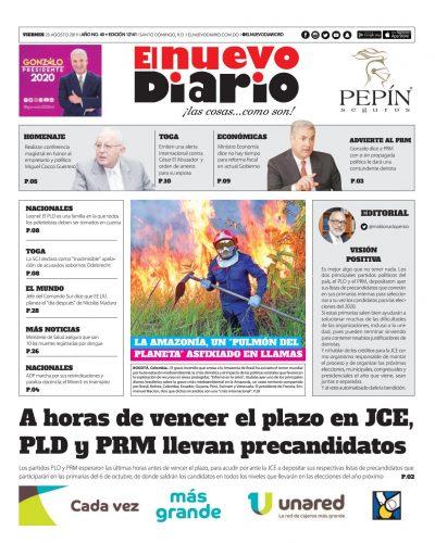 Portada Periódico El Nuevo Diario, Viernes 23 de Agosto, 2019