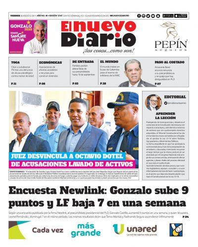 Portada Periódico El Nuevo Diario, Viernes 30 de Agosto, 2019