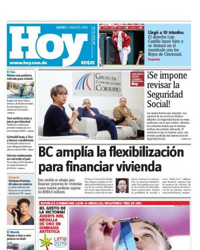 Portada Periódico Hoy, Jueves 01 de Agosto, 2019