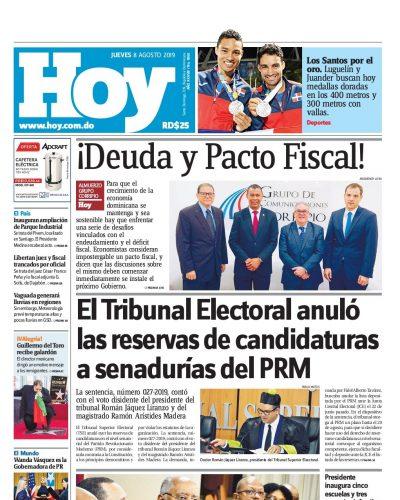 Portada Periódico Hoy, Jueves 08 de Agosto, 2019