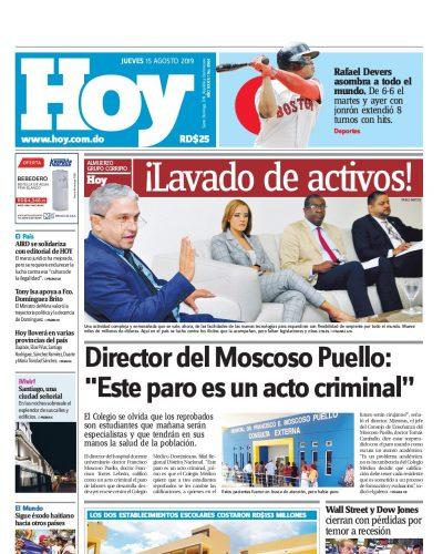 Portada Periódico Hoy, Jueves 15 de Agosto, 2019