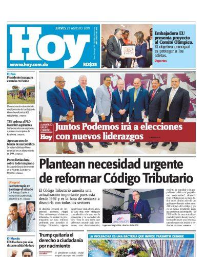 Portada Periódico Hoy, Jueves 22 de Agosto, 2019