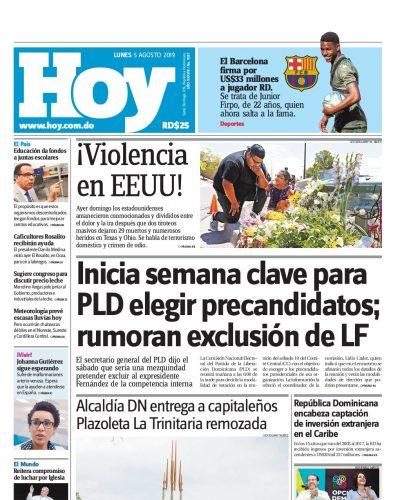 Portada Periódico Hoy, Lunes 05 de Agosto, 2019
