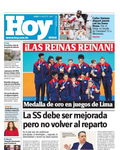 Portada Periódico Hoy, Lunes 12 de Agosto, 2019