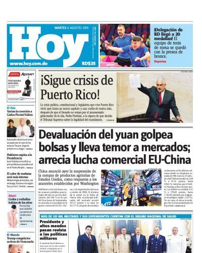 Portada Periódico Hoy, Martes 06 de Agosto, 2019