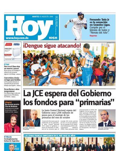 Portada Periódico Hoy, Martes 13 de Agosto, 2019