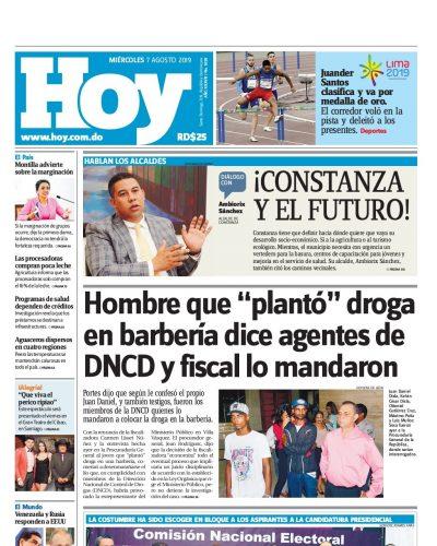 Portada Periódico Hoy, Miércoles 07 de Agosto, 2019