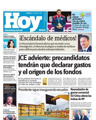 Portada Periódico Hoy, Viernes 02 de Agosto, 2019
