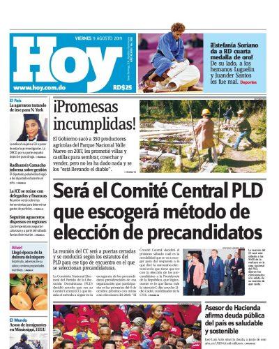 Portada Periódico Hoy, Viernes 09 de Agosto, 2019