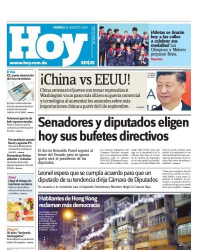Portada Periódico Hoy, Viernes 16 de Agosto, 2019
