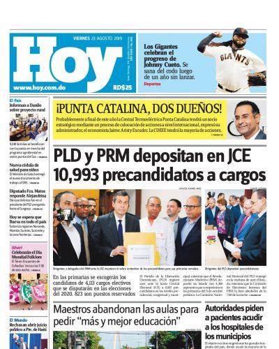 Portada Periódico Hoy, Viernes 23 de Agosto, 2019