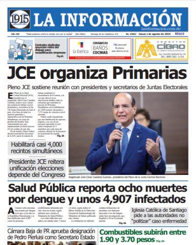 Portada Periódico La Información, Domingo 04 de Agosto, 2019