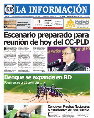 Portada Periódico La Información, Domingo 11 de Agosto, 2019