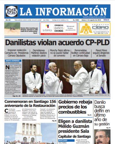 Portada Periódico La Información, Domingo 18 de Agosto, 2019