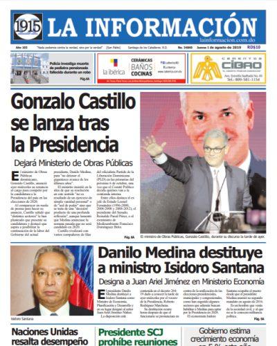 Portada Periódico La Información, Jueves 01 de Agosto, 2019