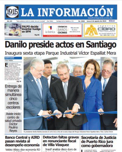 Portada Periódico La Información, Jueves 08 de Agosto, 2019