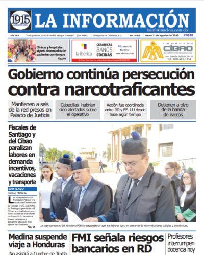 Portada Periódico La Información, Jueves 22 de Agosto, 2019