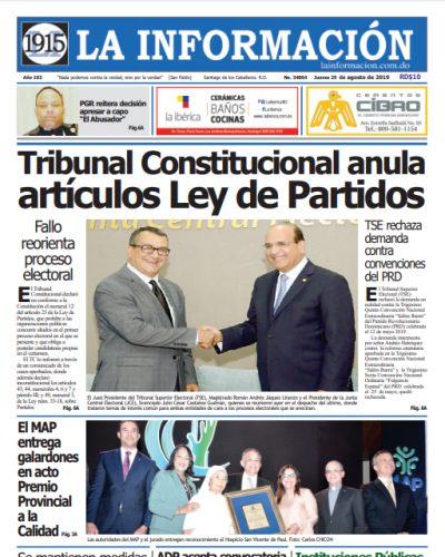 Portada Periódico La Información, Jueves 29 de Agosto, 2019