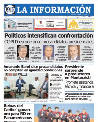 Portada Periódico La Información, Lunes 12 de Agosto, 2019