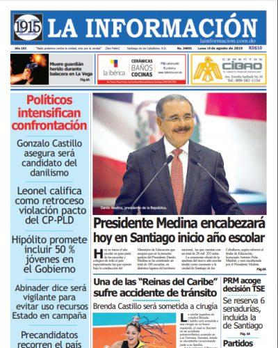 Portada Periódico La Información, Lunes 19 de Agosto, 2019