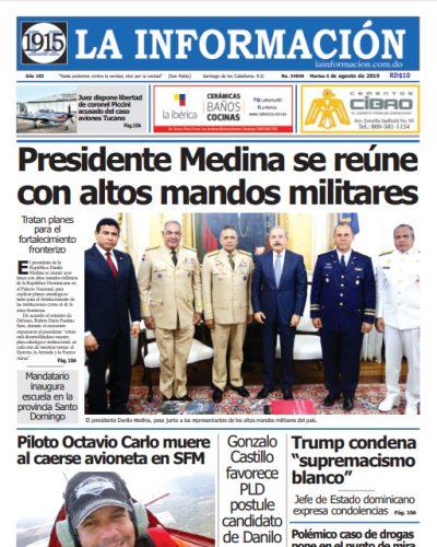 Portada Periódico La Información, Martes 06 de Agosto, 2019