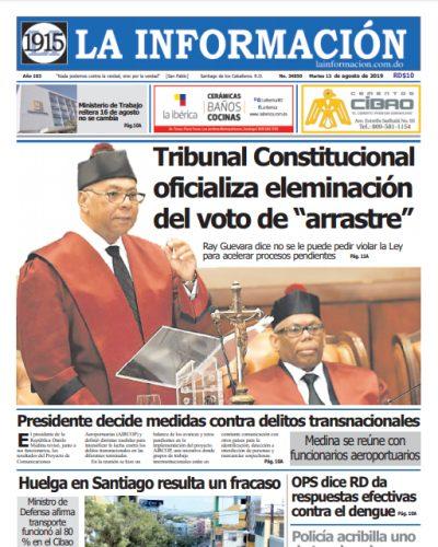 Portada Periódico La Información, Martes 13 de Agosto, 2019