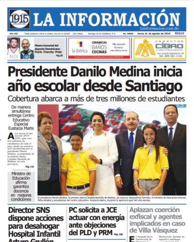 Portada Periódico La Información, Martes 20 de Agosto, 2019