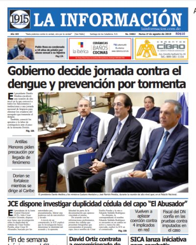 Portada Periódico La Información, Martes 27 de Agosto, 2019
