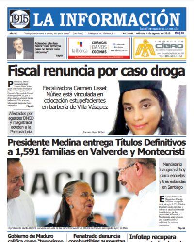 Portada Periódico La Información, Miércoles 07 de Agosto, 2019