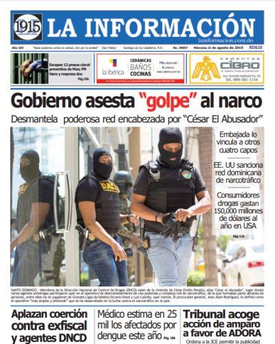 Portada Periódico La Información, Miércoles 21 de Agosto, 2019