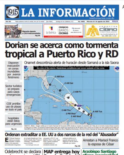 Portada Periódico La Información, Miércoles 28 de Agosto, 2019