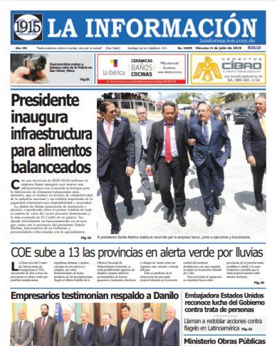 Portada Periódico La Información, Miércoles 31 de Julio, 2019