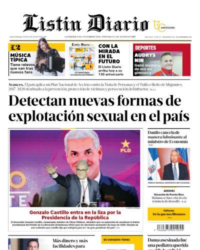 Portada Periódico Listín Diario, Jueves 01 de Agosto, 2019